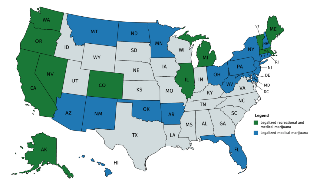 Legalized recreational and medical marijuana per US state per January 1st 2020
